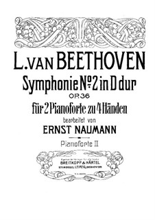 Symphony No.2, Op.36: Version for two pianos four hands – piano II part by Ludwig van Beethoven