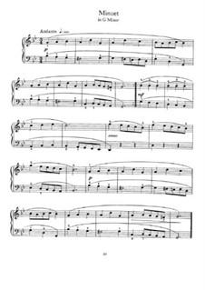 Minuet in G Minor: For piano by Johann Sebastian Bach