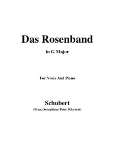 Das Rosenband (The Rosy Ribbon), D.280: For voice and piano (G Major) by Franz Schubert