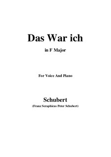 Das war ich (That was I), D.174: F Major by Franz Schubert