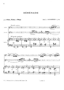 Serenade for Flute, Violin and Piano, Op.85: Full score by René de Boisdeffre