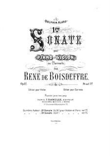 Sonata for Violin No.1, Op.12: Score by René de Boisdeffre