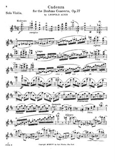 Cadenza to Violin Concerto in D Major by J. Brahms, Op.77: Cadenza to Violin Concerto in D Major by J. Brahms by Leopold Auer