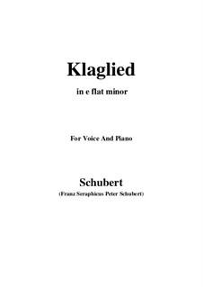 Klaglied (Lament), D.23 Op.131 No.3: E flat minor by Franz Schubert