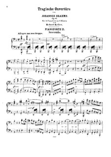 Tragic Overture, Op.81: For two pianos eight hands – piano II part by Johannes Brahms