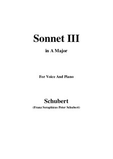 Sonnet No.3 in C Major, D.630: For voice and piano (A Major) by Franz Schubert