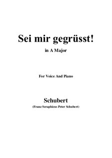 Sei mir gegrüsst (I Greet You), D.741 Op.20 No.1: For voice and piano (A Major) by Franz Schubert