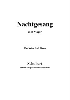 Nachtgesang (Night Song), D.119: B Major by Franz Schubert