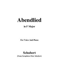 Abendlied (Evening Song), D.382: F Major by Franz Schubert