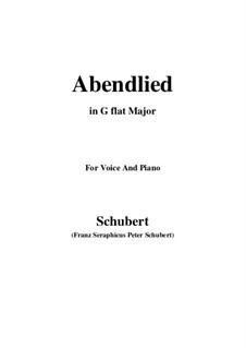Abendlied (Evening Song), D.382: G flat Major by Franz Schubert