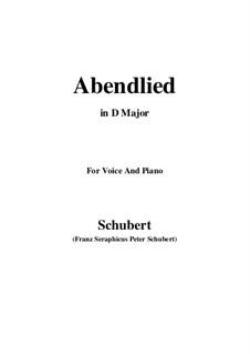 Abendlied (Evening Song), D.382: D Major by Franz Schubert