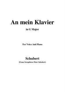 An mein Klavier (To My Piano), D.342: G Major by Franz Schubert