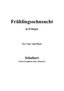No.3 Frühlingssehnsucht (Longing in Spring): For voice and piano (D Major) by Franz Schubert