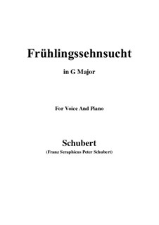 No.3 Frühlingssehnsucht (Longing in Spring): For voice and piano (G Major) by Franz Schubert