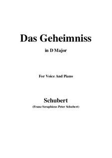Das Geheimnis (The Secret), D.793 Op.173 No.2: D Major by Franz Schubert