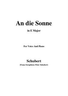 An die Sonne (To the Sun), D.270 Op.118 No.5: E Major by Franz Schubert