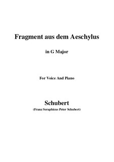 Fragment from Aeschylus, D.450: G Major by Franz Schubert