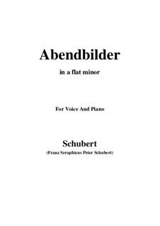 Abendbilder, D.650: For voice and piano (a flat minor) by Franz Schubert