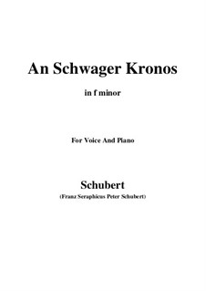 An Schwager Kronos (To Coachman Chronos), D.369 Op.19 No.1: For voice and piano (f minor) by Franz Schubert