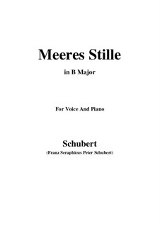 Meeres Stille (Calm at Sea), D.216 Op.3 No.2: For voice and piano (B Major) by Franz Schubert