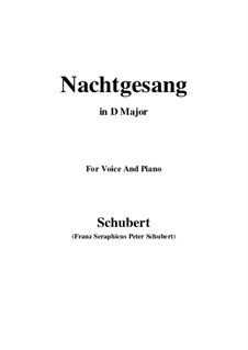 Nachtgesang (Night Song), D.119: D Major by Franz Schubert