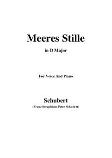 Meeres Stille (Calm at Sea), D.216 Op.3 No.2: For voice and piano (D Major) by Franz Schubert
