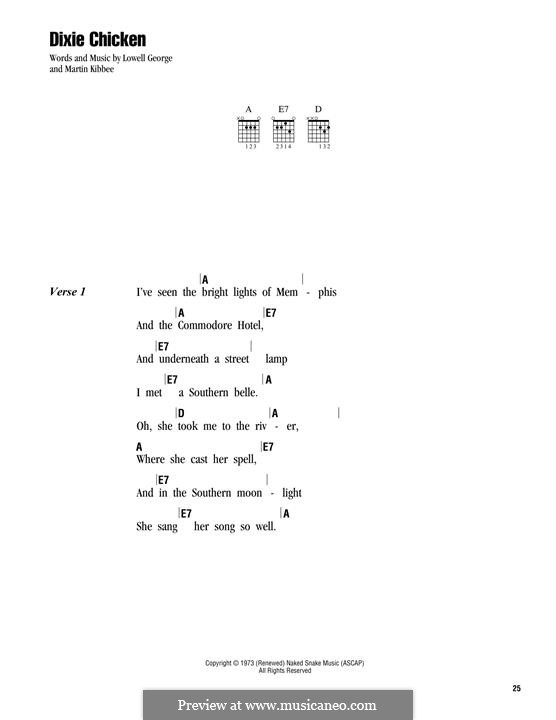 Dixie Chicken (Little Feat): Lyrics and chords by Lowell George, Martin Kibbee