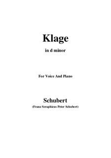 Klage (Sorrow Floods My Life), D.371: C sharp minor by Franz Schubert