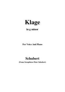 Klage (Sorrow Floods My Life), D.371: G sharp minor by Franz Schubert