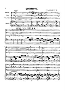 Two Piano Quartets: Two Piano Quartets by Wolfgang Amadeus Mozart