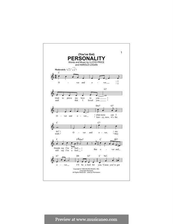 (You've Got) Personality: Melody line by Harold Logan