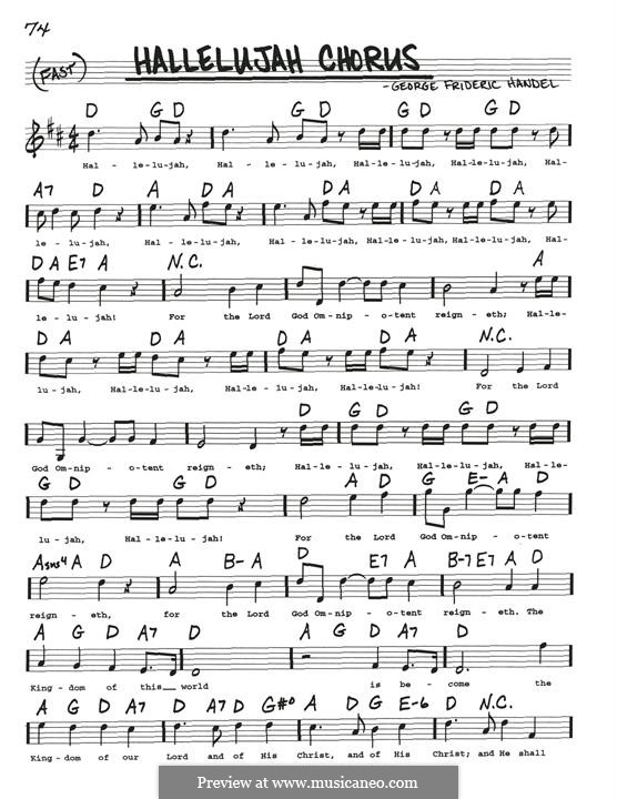 Joy to the World (Printable Scores): Melody line by Georg Friedrich Händel