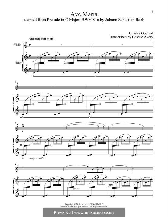 Ave Maria (Printable Sheet Music): For violin and piano by Johann Sebastian Bach, Charles Gounod