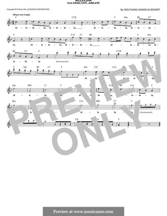 Exsultate, jubilate, K.165: Alleluia, melody line by Wolfgang Amadeus Mozart