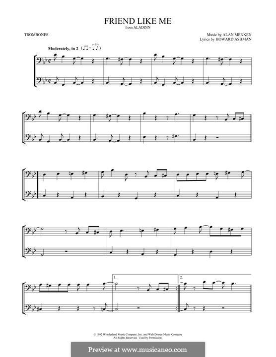 Friend Like Me (from Aladdin): For two trombones by Alan Menken