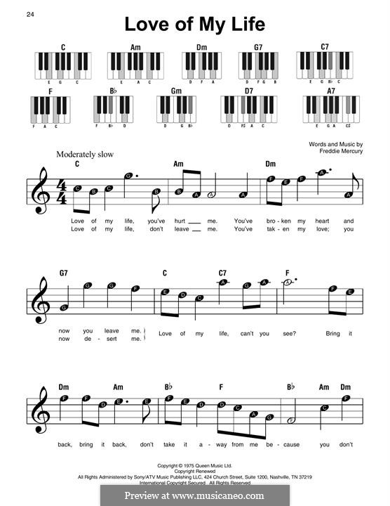 Love of My Life (Queen): For piano by Freddie Mercury