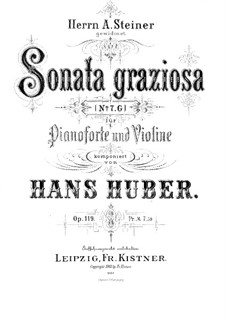 Sonata graziosa for Violin and Piano, Op.119: Score for two performers by Hans Huber