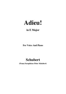Adieu! 'Tis Love's Last Greeting: E Major by Franz Schubert