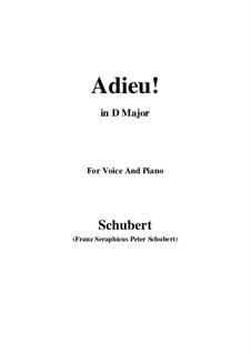 Adieu! 'Tis Love's Last Greeting: D Major by Franz Schubert