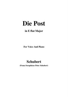 No.13 Die Post (The Post): For voice and piano (E flat Major) by Franz Schubert