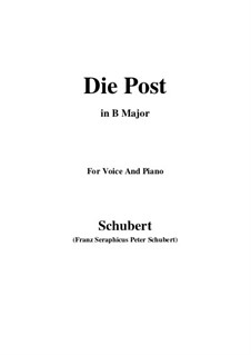 No.13 Die Post (The Post): For voice and piano (B Major) by Franz Schubert