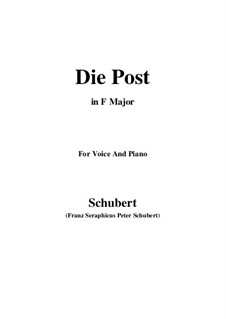 No.13 Die Post (The Post): For voice and piano (F Major) by Franz Schubert