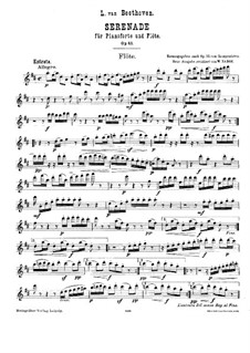 Serenade in D Major for Flute, Violin and Viola, Op.25: Flute part by Ludwig van Beethoven
