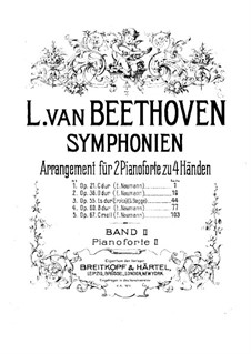 Symphonies No.1-5, Op.21, 36, 55, 60, 67: Version for two pianos four hands – piano II part by Ludwig van Beethoven