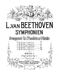 Symphonies No.1-5, Op.21, 36, 55, 60, 67: Version for two pianos four hands – piano I part by Ludwig van Beethoven