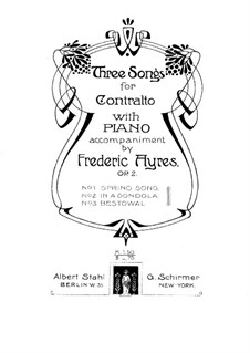 Three Songs for Voice and Piano, Op.2: Three Songs for Voice and Piano by Frederic Ayres