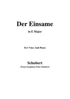 Der Einsame (The Solitary), D.800 Op.41: For voice and piano (E Major) by Franz Schubert