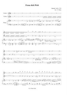 Freue dich Welt dein König naht: Für zwei  Violinen und Klavier by Georg Friedrich Händel