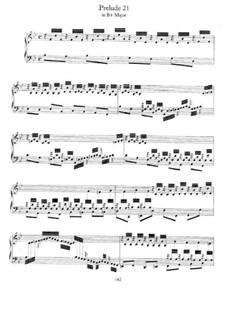 Prelude and Fugue No.21 in B Flat Major, BWV 866: For piano by Johann Sebastian Bach