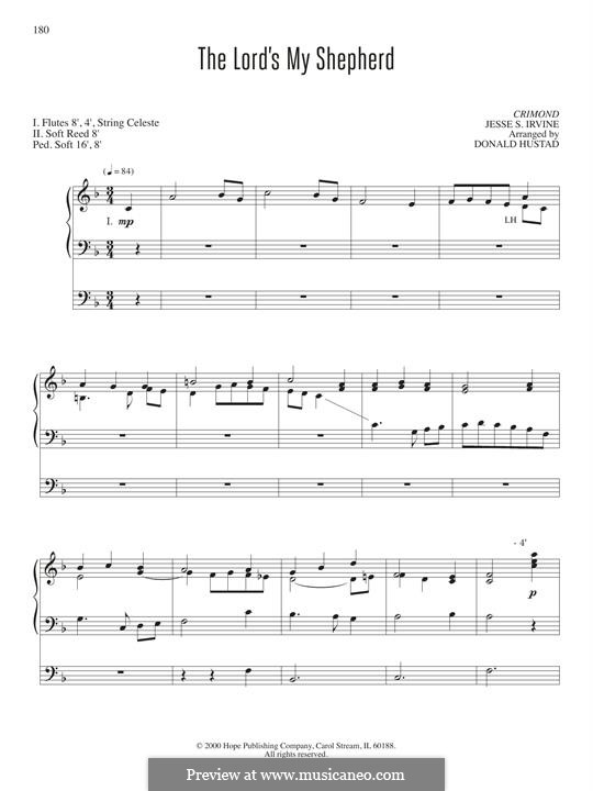 The Lord's My Shepherd, I'll Not Want: For organ by Jessie S. Irvine